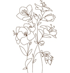 Floral design flowers outline vector