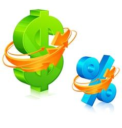 Dollar and percent symbol vector