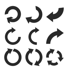 Rotate clockwise flat icon set vector