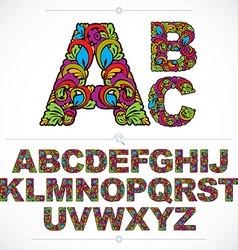 Floral font hand-drawn capital alphabet letters vector