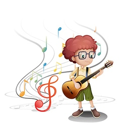 A young musician playing a guitar vector image