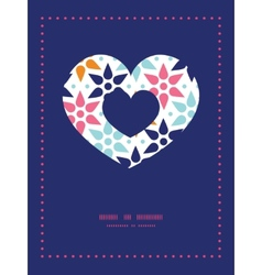 Abstract colorful stars heart symbol frame vector