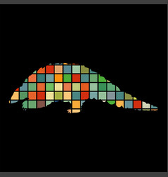 Armadillo mammal color silhouette animal vector