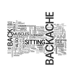 Backache a common problem text word cloud concept vector