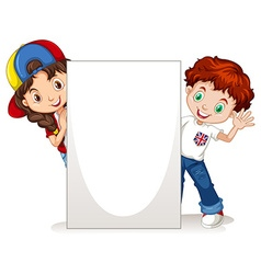 Boy and girl behind the blank sign vector image