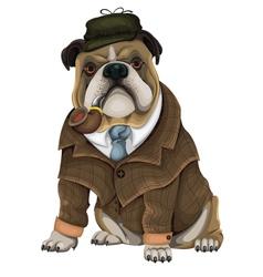 Bulldog Sherlock vector image