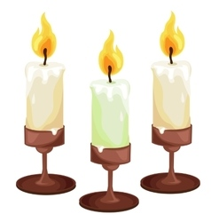 Burning candles in the candleholders vector