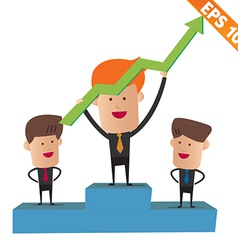 Cartoon business man on winner podium - - EP vector image vector image