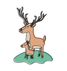 Cartoon deer and calf over grass in watercolor vector