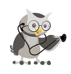 Cartoon owl in the glasses with phonendoscope Owl vector image vector image