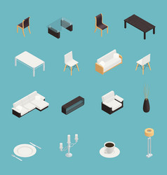 Dining room interior icons set vector