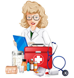 doctor and medical equipments vector image