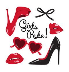 Fashion set high heeled shoes glasses lips vector