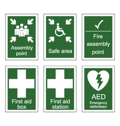 First Aid and Assembly Signs vector image vector image