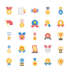 flat icons set of rewards and medals vector image
