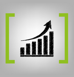 growing graph sign black scribble icon in vector image