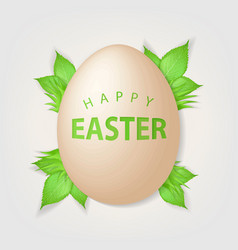 happy easter text on realistic egg vector image vector image