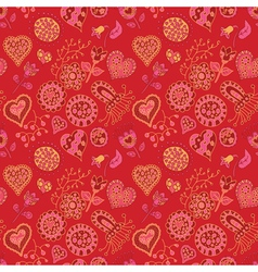 Heart and flowers seamless pattern vector image vector image