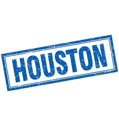 Houston blue square grunge stamp on white vector