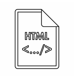 Html file extension icon outline style vector