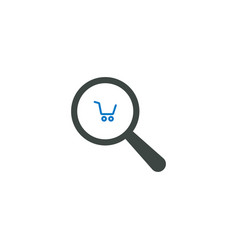 magnifying glass icon shopping cart icon vector image