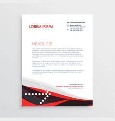 Modern red black letterhead design vector