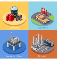 Oil Industry Isometric 4 Icos Square vector image vector image