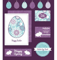 Purple and blue floral abstract set of vector