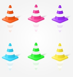 Realistic traffic cones in in different colors vector image vector image