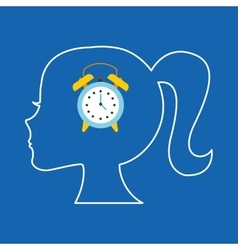 Silhouette head girl student clock vector