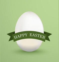 white easter egg with green ribbons on green vector image