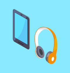 Wireless headphones and tablet 3d icons vector