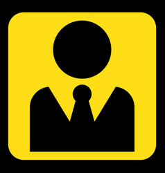 yellow black sign - figure with suit and necktie vector image vector image