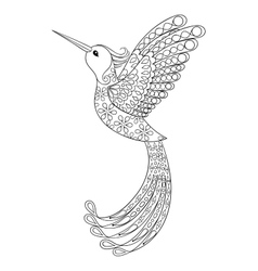 Zentangle tribal Hummingbird flying bird totem vector image vector image