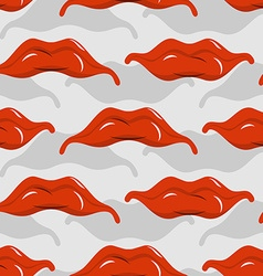 Red lips seamless pattern Pleased with mouth vector image