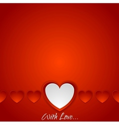 Red romance background with hearts vector image