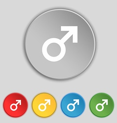 Male sex icon sign symbol on five flat buttons vector