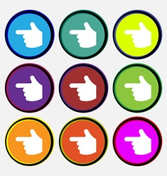 Pointing hand icon sign nine multi-colored round vector