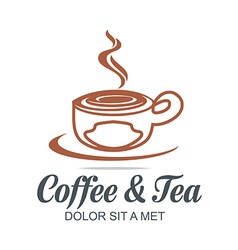 Logo sketch of coffe cup hot chocolate granule vector