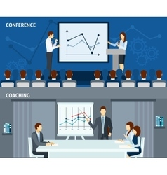 Public speaking 2 flat horizontal banners vector