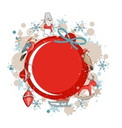 Round red frame with christmas decor vector