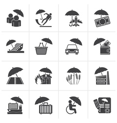 Black insurance risk and business icons vector image
