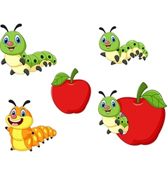 Cartoon funny caterpillar collection set vector
