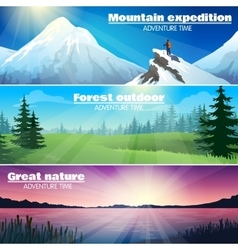 Camping outdoor nature horizontal banners set vector