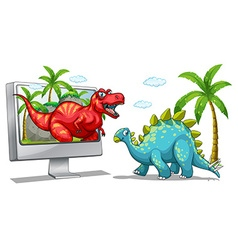 Computer screen with two dinosaurs vector