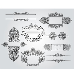 Vintage ornament set vector