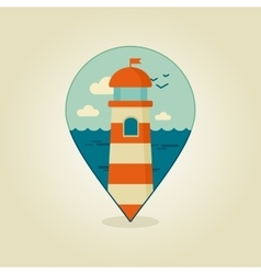Lighthouse pin map icon marine sea vector