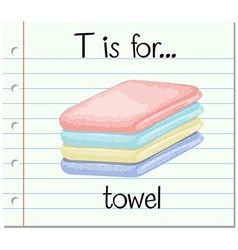 Flashcard letter t is for towel vector
