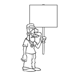 Black and white sad hippie with protest sign vector image