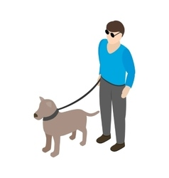 Blind man with guide dog icon isometric 3d style vector